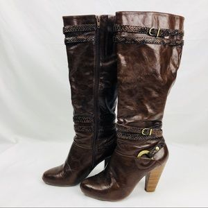 BASS BORDEAUX BROWN LEATHER BOOTS SNAKESKIN STRAPS